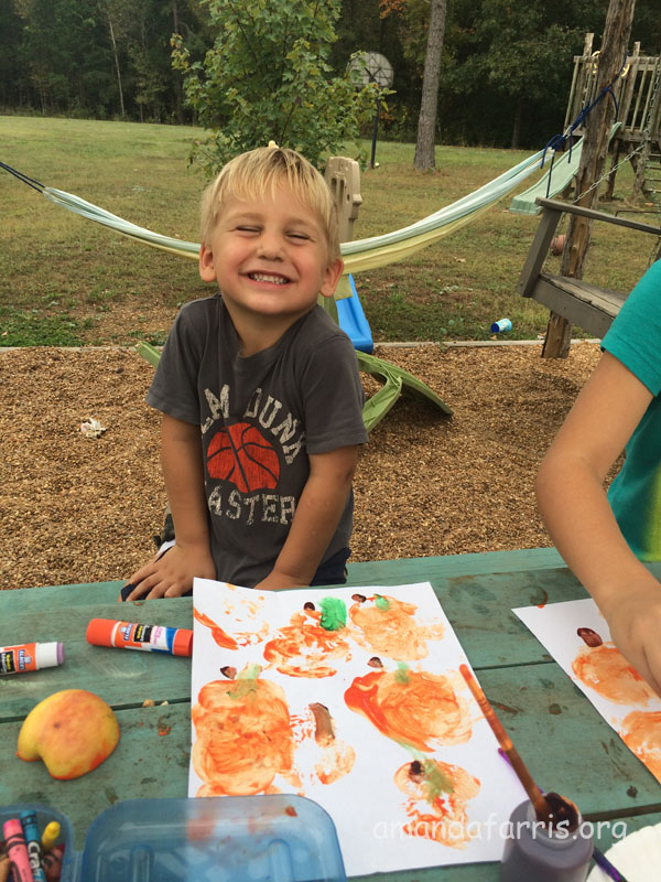 painting with pumpkins orange