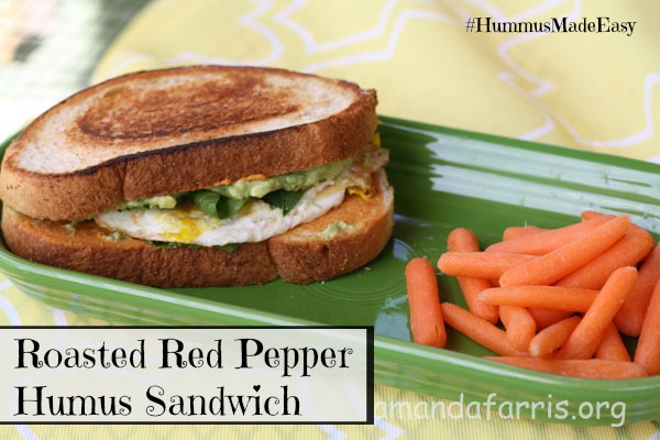 Roasted Red Pepper Hummus Sandwich- Try this delicious recipe today. It's QUICK AND EASY